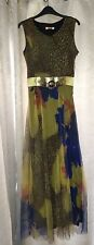 STUNNING MAXI DRESS SPECIAL OCCASION SUMMER HOLS YELLOW BLUE LEOPARD PRINT S / M