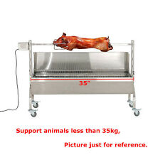 35'' Stainless Steel BBQ,Lamb,Goat,Pig,Chicken Rotisserie Spit Roaster,28W 132lb