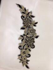 Black Gold Net Embroidery Patch Lace Applique Motif Dance Costume Trimming Dress
