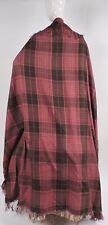 PRE CIVIL WAR 1840'S SILK & COTTON BLEND TARTAN SHAWL W FRINGE FOR DRESS