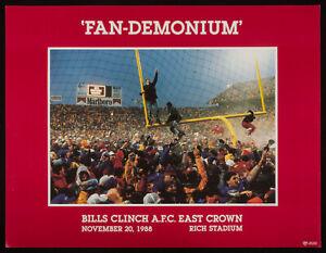 FAN-DEMONIUM Buffalo Bills clinch AFC East 1988 FANDEMONIUM POSTER goalposts EXC
