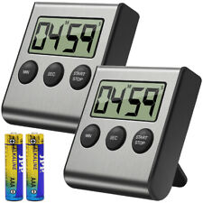 Digital Kitchen Timer Alarm 2 Pack, Stainless Steel Shell; Large Display
