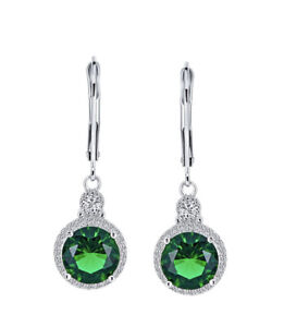 White gold finish Green Emerald And Created diamond Round cut Droplet earrings