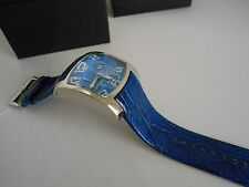 New Chronotech Men's CT.7703M/03 Rectangle Blue Leather Date Watch