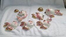Set of Vintage Bathroom Wall Plaques Ceramic Fish Bubbles Mid Century