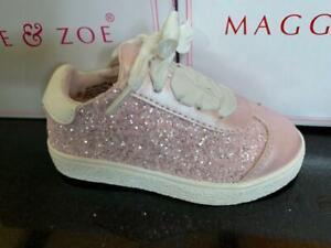 Pink Glitter Sneakers Zip Closure  Maggie & Zoe NEW  Infants/Toddler Size 6