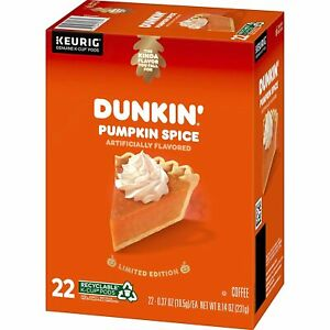 Dunkin Donuts PUMPKIN SPICE Coffee 22 Count K-Cup Pods Keurig Limited! BB 8/2022