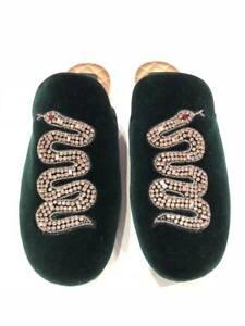 Gucci Lawrence Green Princetown Crystal Snake Slide Loafer Mule Slipper Flats 35
