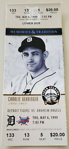 Charlie Gehringer 1999 Tiger Stadium Final Season Full Ticket Stub