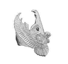 MR23 Genuine 9ct White Gold X-Wide Eagle Falcon Ring Fine Detail Biker size 11