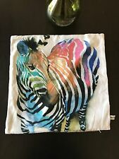 Feather Filled Zebra Pillow Cover 20x20