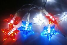 Red White Blue Stars Fairy Lights 10 LED String Battery Power Operated 2AA
