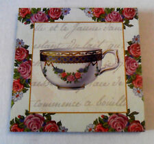 Image Picture Print Glued on Wood, PLAQUE to Hang, Tea Cup, Roses, French Recipe