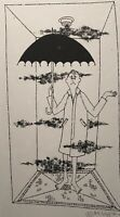 MILDA VIZBAR 1933-2019 NEW YORK CITY ORIGINAL  DRAWING FIGURE UMBRELLA STUDY