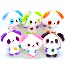 Kawaii Cell Phone Charm Plush Panda White Bear Healing Stone Bead Keychain Toy