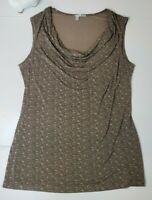 Halogen Sleeveless Blouse Tank Top Stretch Brown Waterfall Neck Size Large