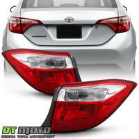 For 2014-2016 Toyota Corolla Red Clear Tail Lights Signal Lamps Outer Left+Right