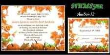 50 Fall Autumn Personalized Custom Wedding Invitations Set You Choose Color Text