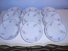 "9 ARLEN FINE CHINA Cathay Flora & Silver Trim 7 1/2"" Salad Bowls 1476 Japan"