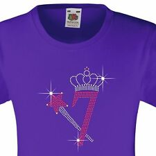 """Girl's Birthday TShirt """"7 with crown & wand"""" Rhinestone Embellished-Many Colours"""