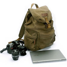 Waterproof DSLR Canvas Camera 13'' Laptop Backpack Rucksack Travel Bag Daypack