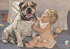 BABY HUGS BULLDOG CHARMING DOG GREETINGS NOTE CARD