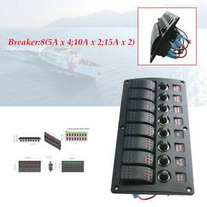 8 Gang 12-24V Enclosed Rocker Switch Panel Car Marine Boat Circuit Led Breaker