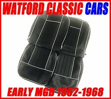 MGB Roadster and GT Pair of Seat Covers 1962-1968 Leather look Black / White