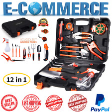 Professional & Premium Garden Tools Set 12 in 1 With Bonus Hard Case Box Black