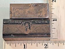 2 Pcs Vintage Copper Amp Wood Letterpress Print Block Tailor Ad Holiday Ribbon 64