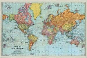 Stanfords General Map Of The World Colour Maxi Poster 61 x 91.5cm