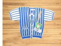 "VTG 90s Sharon Young Sportswear Women Medium 41"" Baseball S/S Cardigan Sweater"