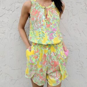 Lilly Pulitzer Happy Place Yellow Shorts Romper Size XS