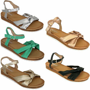 Ladies Sling Back Wedge Sandals Womens Open Toe Flat Bow Shoes Leather Look