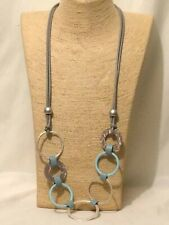 Statement Multi Coloured Grey Baby Blue Long Big Large Hoop Link Chain Necklace