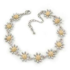 2 Tone 'Daisy' Bracelet (Silver Tone/ Gold Tone) - 20cm Length/ 6cm Extension