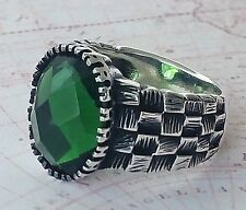 Turkish Faceted Green Agate Gemstone 925 Sterling Silver Mens Ring Gemstone