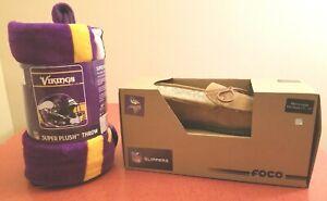 Minnesota Vikings NFL Team Logo Throw Blanket & size 11-12 Slippers Gift Set