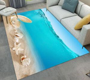 Clear Seawater Beach Shells Living Room Mat Bedroom Carpet Floor Decor Area Rugs