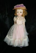 "New ListingVintage Madame Alexander Binnie Walker 18"" Pink Tulle Dress Cissy Face Straw Hat"