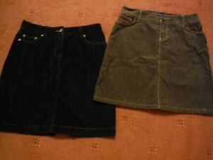 2x Boden Cord mini Skirts in size 10R - chocolate and black