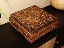Handmade Engraved Syrian Inlaid Mosaic Wooden Jewellery Chest Box 31x31x11cm