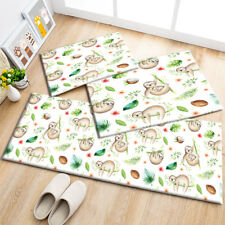 Watercolor Tropical Leaves Sloth Design Area Rugs Kitchen Living Room Floor Mat