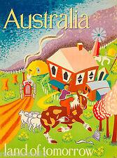 Australia Land of Tomorrow Australian Vintage Travel Advertisement Art Poster