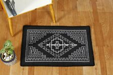 Indian Handmade Gray & Black Door Mat Bohomian Rug Boho Floor Carpet Hand Woven
