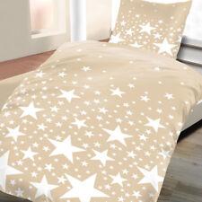 Baumwoll Biber Bettwäsche 135x200 2tlg Sterne beige Winter warm