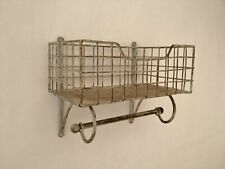 Wire Metal Shelf And Rail Unit Kitchen Wall Rack Vintage Industrial Storage