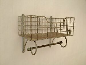 Wire Metal Shelf And Rail Unit Kitchen Wall Rack Vintage Industrial Storage