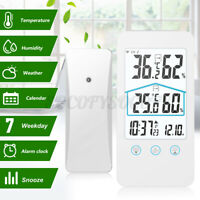LED Wireless Weather Station Alarm Clock Temperature Humidity Snooze Sensor Home