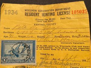Hunting License 1934 Migratory Bird Hunting Stamp